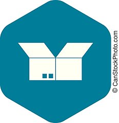 Opened cardboard box icon, simple style