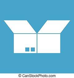 Opened cardboard box icon white