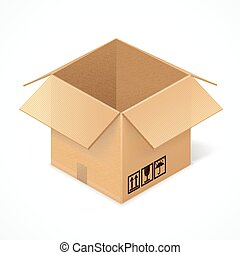 Opened cardboard box, isolated on white