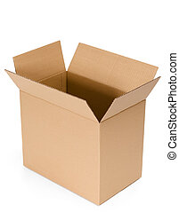 Opened cardboard box - Opened cardboard container, isolated,...