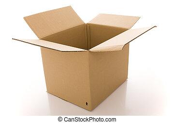 cardboard box - opened cardboard box parcel (isolated on ...
