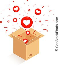 Opened cardboard, carton box with heart icon isolated on ...