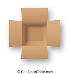 Opened cardboard package box