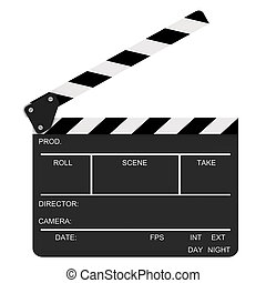 Opened Clapboard - Opened clapboard isolated on a white...