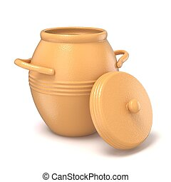 Opened clay pot with lid. 3D