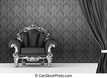 Opened curtain with baroque armchair on wallpaper background...