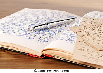 Diary - Opened Diary with pen