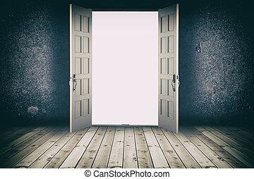 Opened door. Abstract interior backgrounds with wooden floor...