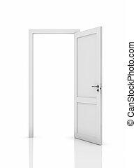 Opened door - 3d illustration of white opened door. Isolated...