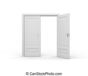 Opened door on white background