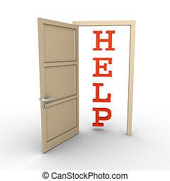 Opened door provides help