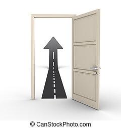 Opened door provides road