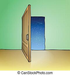 Opened door