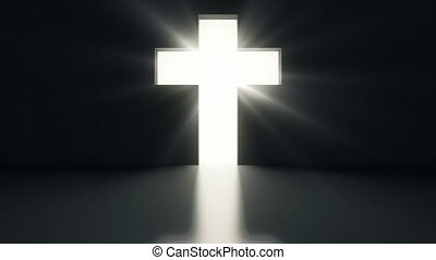 Opened door with bright light cross on black wall.