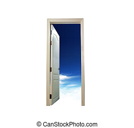 Opened door with the blue sky outside