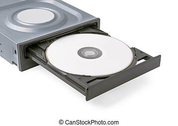 opened drive CD - DVD - Blu Ray with a black cap and disk, white background