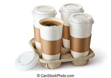 opened., emporter, tasse, holder., café, une, quatre