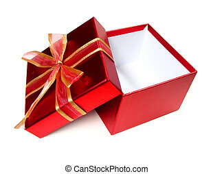 Opened empty red gift box
