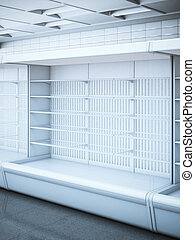 Opened empty refrigerator in the store. 3d rendering