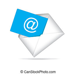 opened envelope with e- mail isolated on white background