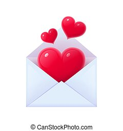 Opened envelope with red hearts