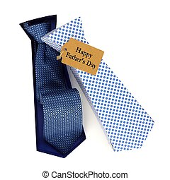 Opened Fathers Day handmade tie shaped gift box with tag on a white background