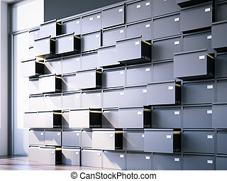Opened filing cabinet in interior. 3d rendering
