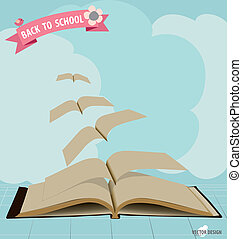 Opened flying books and ribbon. Vector illustration.