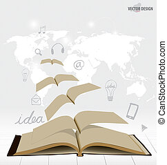 Opened flying books with application icon, modern template design. Vector illustration.