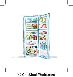 Opened fridge full of food, sketch for your design. Vector illustration