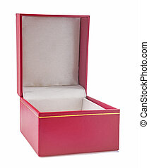 opened gift box covered with red soft textured leather front...