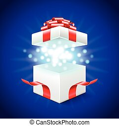 Opened gift box on blue vector back - Opened gift box on...