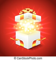Opened gift box on red background vector
