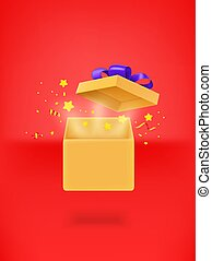 Opened gift box with confetti on red background