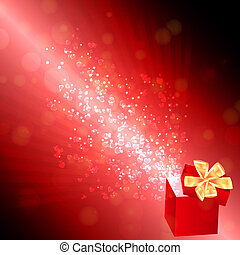 Opened gift box with flying hearts, Valentine's card. vector illustration