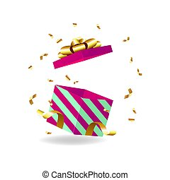 Opened gift box with golden bow and gold ribbon.