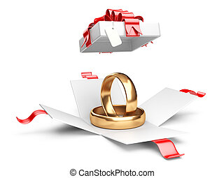 Opened gift box with golden rings