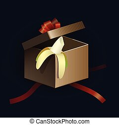 Opened gift box with red strips and banana inside. Vector illustration.