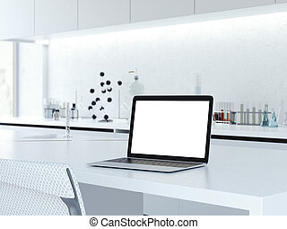 Opened laptop on a laboratory desk. 3d rendering