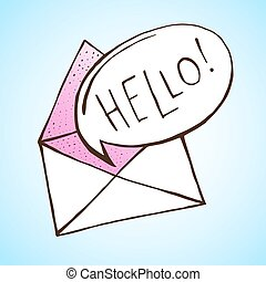 Opened letter with speech bubble. Hand drawn vector...