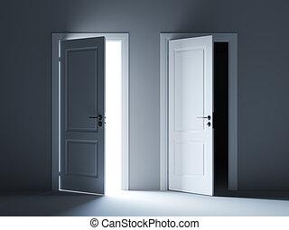 Opened light and dark way doors