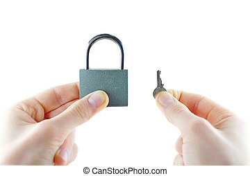 Opened lock and key in hand