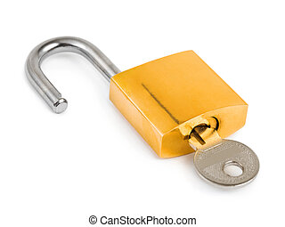 Opened lock and key