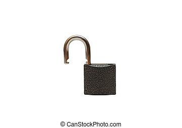 Opened lock isolated on white background