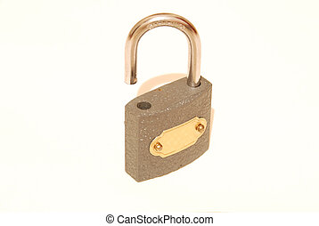 opened lock on a white ba