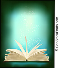 Opened magic book with magic light