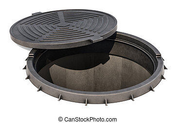 Opened Manhole, 3D rendering