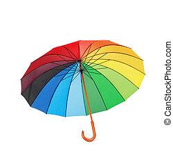 opened multicoloredd umbrella handle down isolated on white...