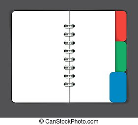 Opened note pad with blank spread. Vector illustration