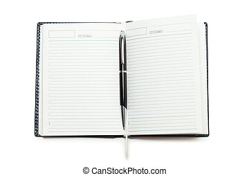 opened notebook with pen isolated